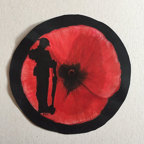 Remembrance Soldier handpainted leather patch