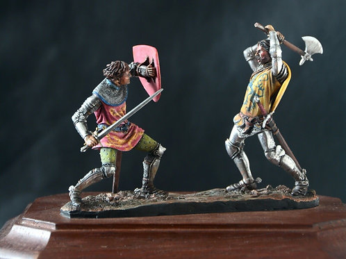 Pair 54mm knight models by Andrea: Crecy 1346