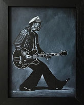 chuck Berry rock and roll portrait Artist Karl leather jacket art painting leatherartist 'leather artist' 'leather art' 'handpainted leather jackets' 'art on leather' 'leather painting artist'