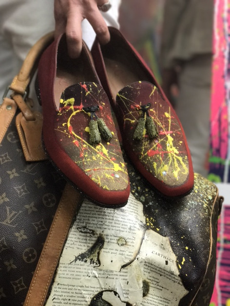 Hand Painted Mark Chris shoes with real Diamond dust & Mixed Media Louise Vuitton Duffle Bag with real Diamond dust