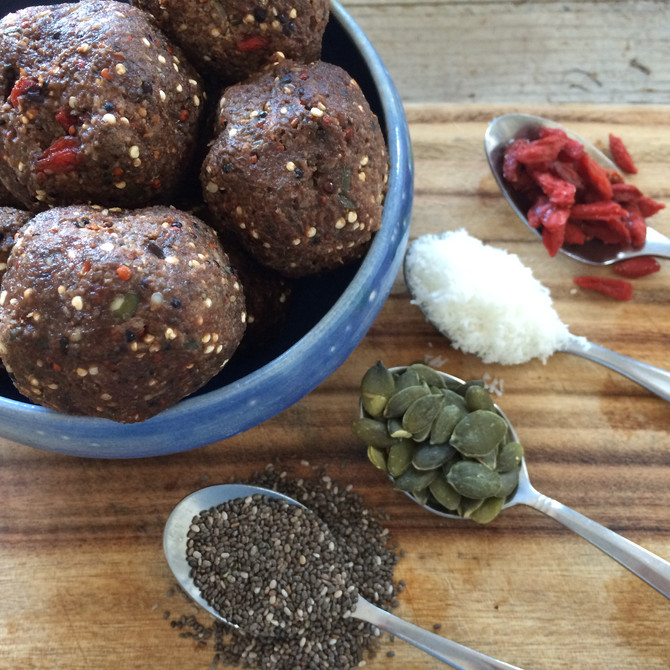 Protein packed: quinoa, goji berry and cocoa bliss balls