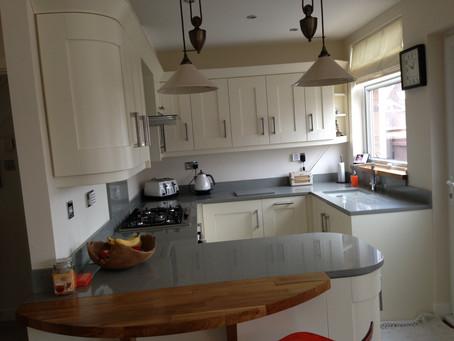 Cream Kitchen with Gray Worktops