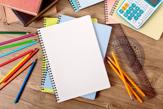 Third & Fourth Grade Header Image: Pencils, Notebook, Protractor, and Ruler.