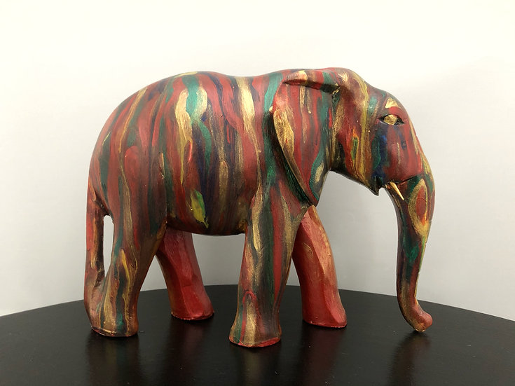 Red gold green elephant