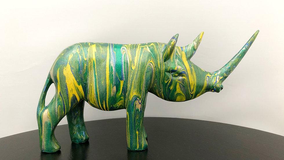 Blue green yellow gold rhino