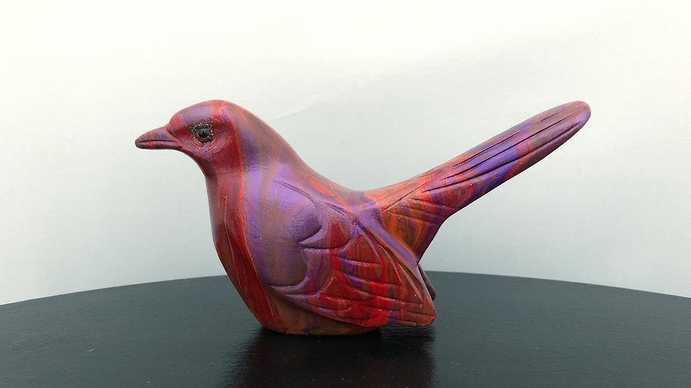 Red orange purple bird