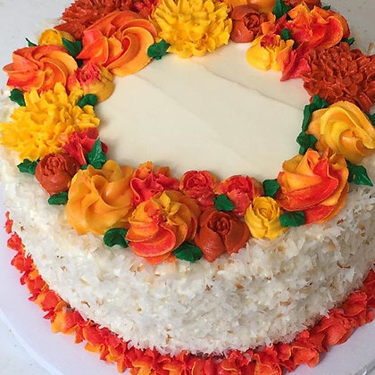 Coconut Pineapple Cake Decorated