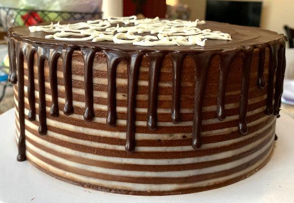 Yellow Cake with Chocolate Gouache