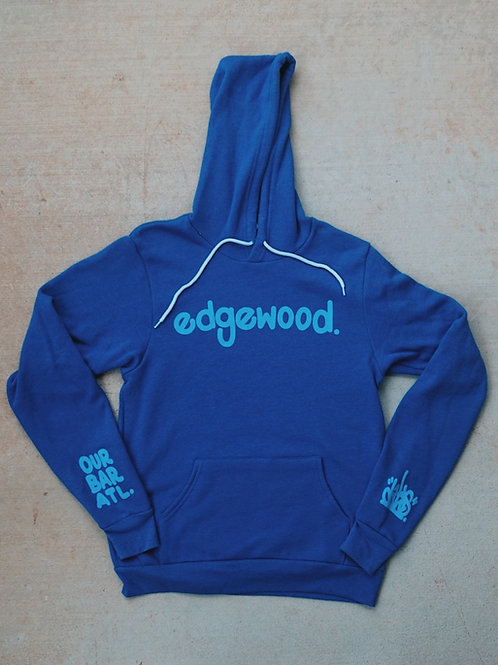 Our Bar ATL Edgewood Hoodie. Front View. Bar Merchandise showcasing local Atlanta Artist Dr.Dax.