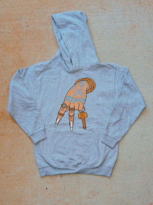 Our Bar ATL Heather Grey A-Town Hoodie. Front View. Bar Merchandise showcasing local Atlanta Artist Debbi Snax.