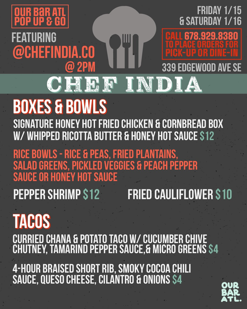 Chef India's Kitchen Pop-Up at Our Bar ATL!