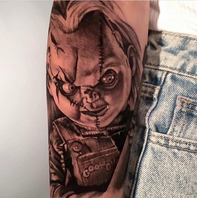 Creepy Chucky added to a forearm by @veg