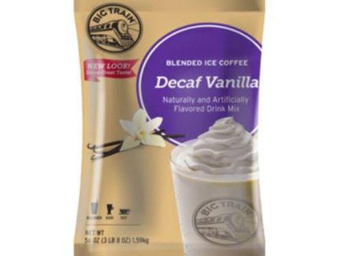Big Train Blended Ice Coffee - Decaf Vanilla Latte, Case of 5 ct./ 3.5 lbs. ea.