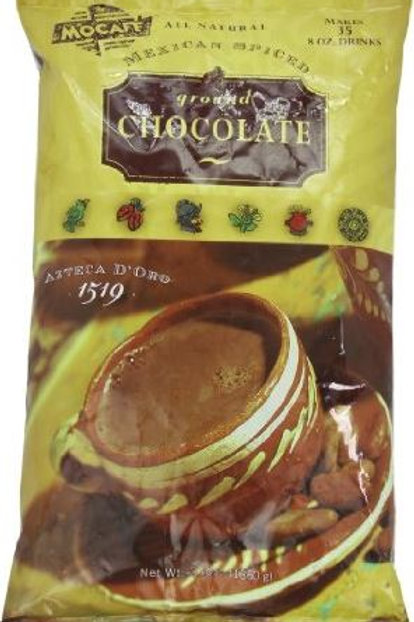Mocafe Azteca D'oro 1519 Mexican Spiced Ground Chocolate Cocoa, Case of 4/3 lbs.