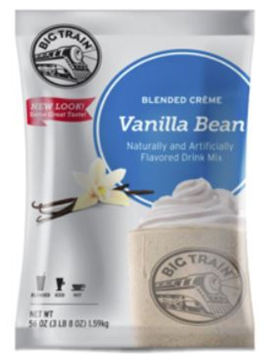 Big Train Blended Iced Crème Frappe-Vanilla Bean Crème, Case of 5 ct./3.5 lbs ea