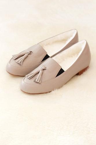 GRETEL Lamb Fur Lining Leather Shoes