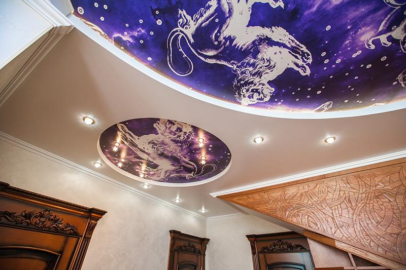 картинки на потолок зал натяжные потолки