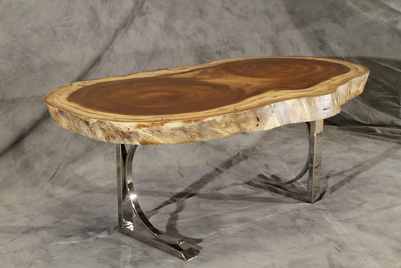 Oval Parota Dining Table with Polished Steel Legs