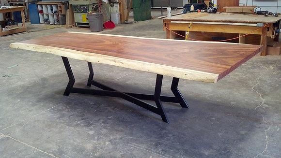 Parota Slab Table with Steel Base