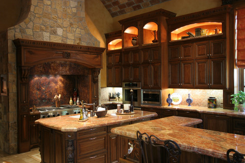 Carved Walnut Kitchen Cabinets
