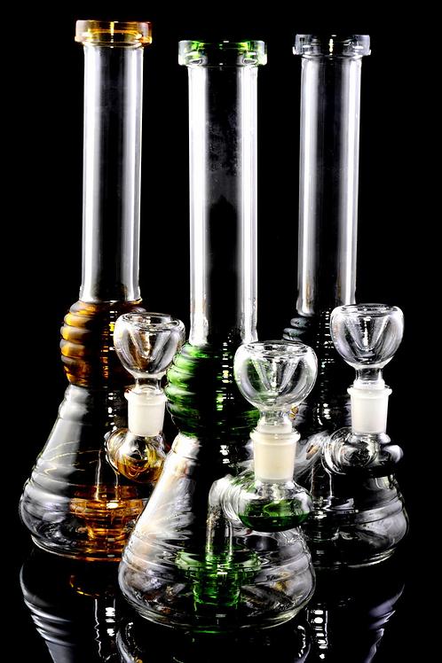Stemless Reeded Beaker Water Pipe w/ Showerhead Perc