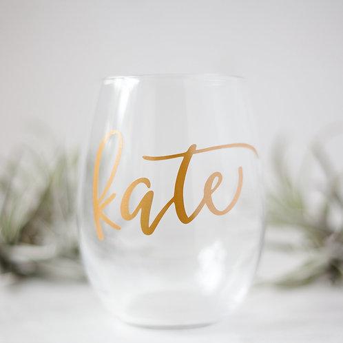 Single Custom Stemless Wineglass