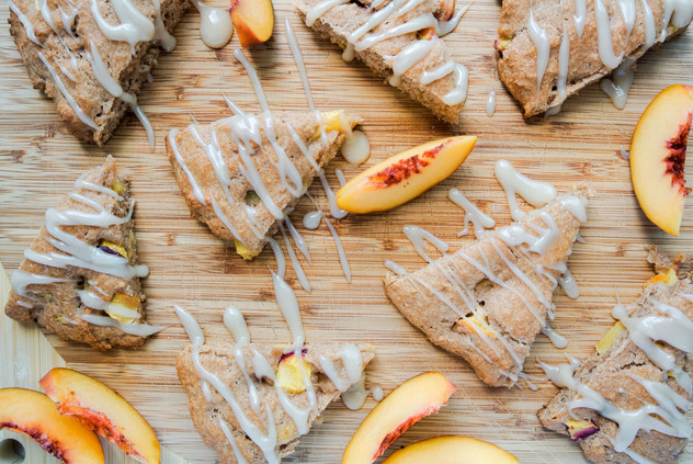 Peach Scones with Coconut Glaze