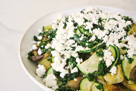 Smashed Potatoes with Zucchini, Feta and Salsa Verde