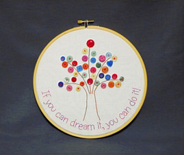 T1 Embroidered Hoop Art