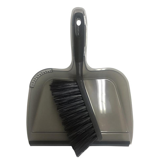 Dustpan with Rubber Lip and Brush