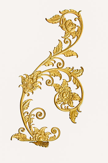 metal golden of floral corner on white b