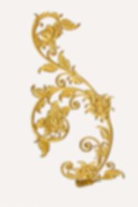 metal golden of floral corner on white b