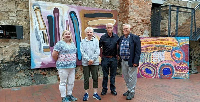 Chris & Bill Elliott (left & right) with Marion & Steve Isham (centre) at Constitution Dock, Hobart