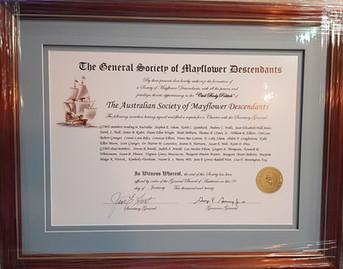 Australian Mayflower Charter Certificate