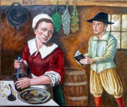 Pilgrim life in the 1600s - Mayflower Passenger Samuel Fuller and Jane Lothropp, newly wed. By Steve Isham.
