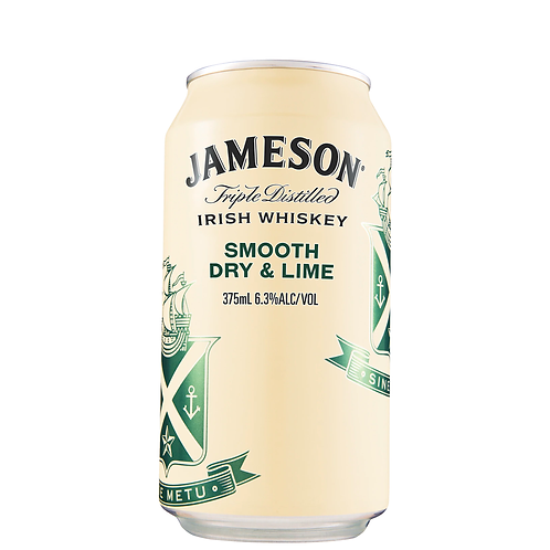 Jameson Irish Whiskey Smooth Dry & Lime Cans 375mL 6.3%