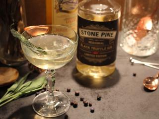 'Black Truffle Martini' garnished with burnt butter sage!