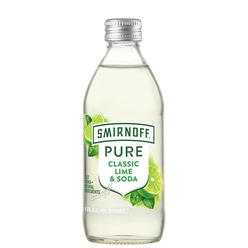 Smirnoff Pure Classic Lime & Soda Bottles 4x300mL 4.5%