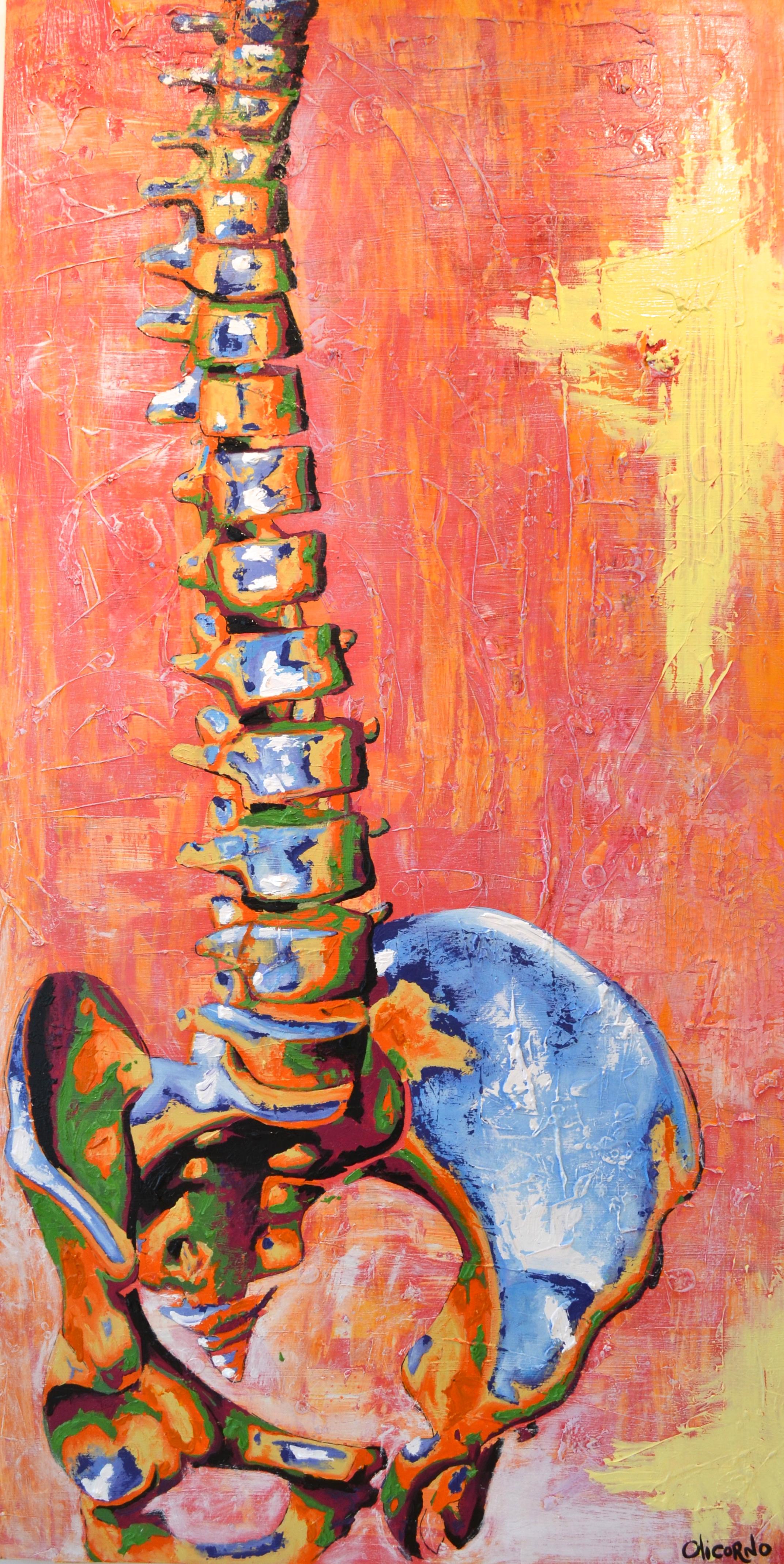 Olicorno - ''Debout #2'' de la série Bones, acryliques, 2016 (96''x48'') 4750$
