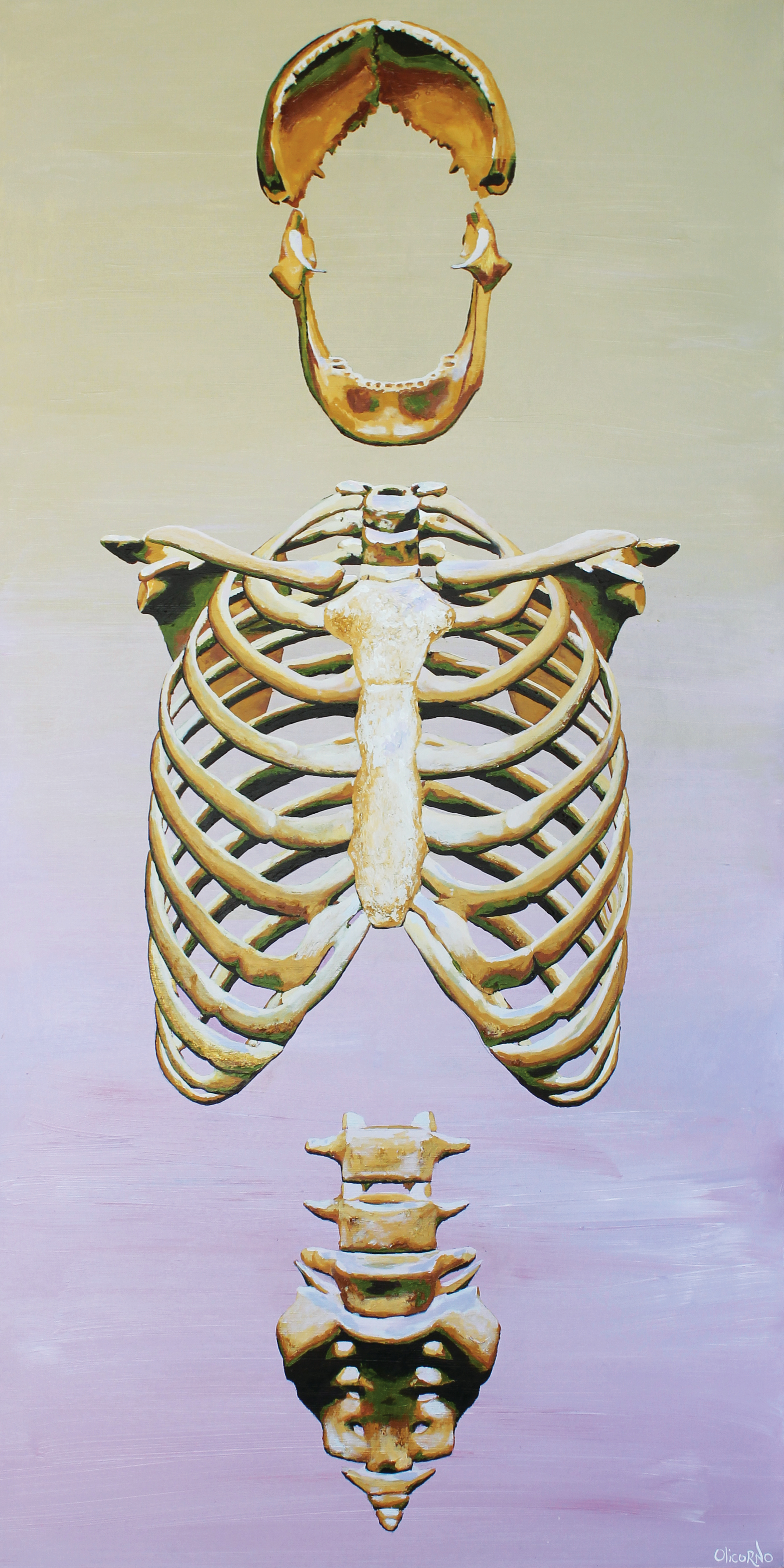 Olicorno - ''Construction #5'' de la série Bones, acryliques, 2017 (96''x48'') 4750$
