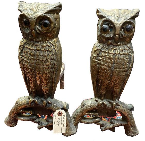 Pair of Owl Andirons