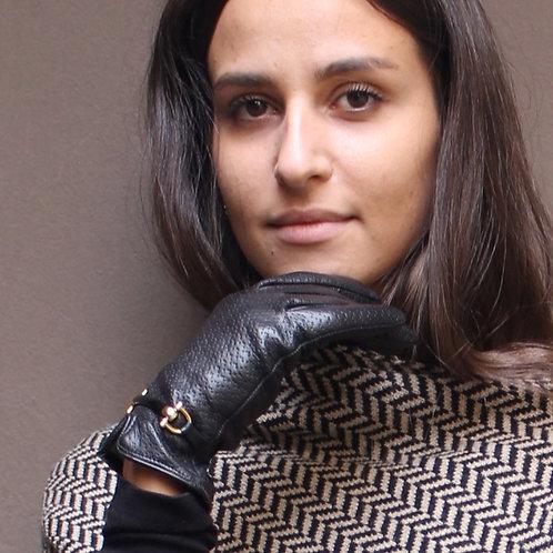 Guanto in morbida pelle con bracciale, fodera lana