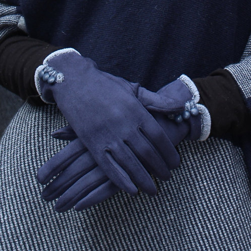 Guanto in tessuto scamosciato con bottoncino