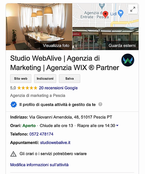SCHEDA GOOGLE MY BUSINESS