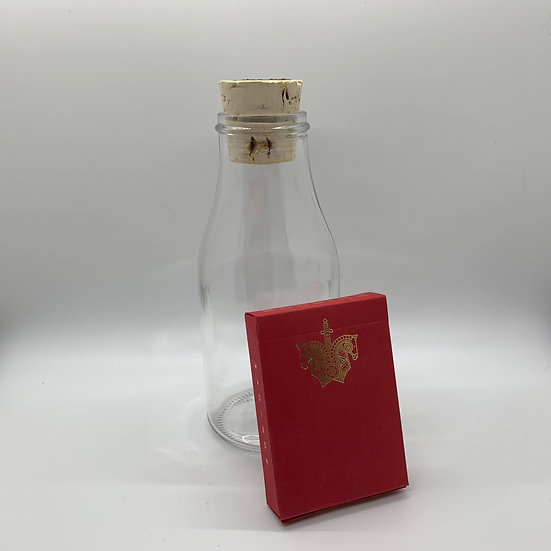 Impossible Bottle of Red Knights Playing Cards with Cellophane