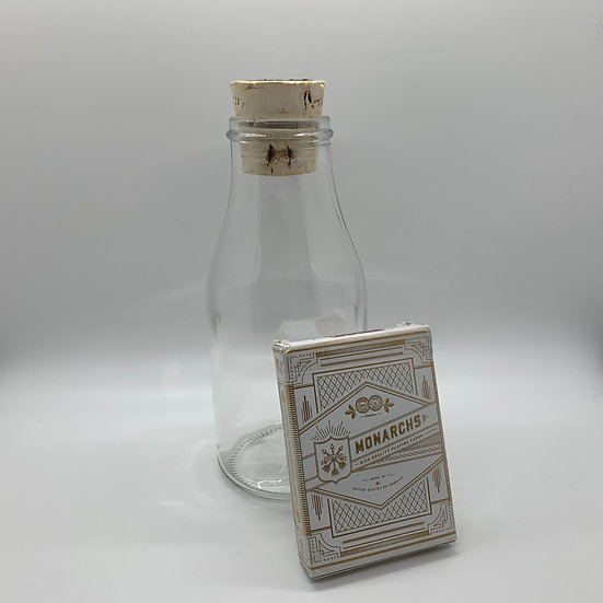 Impossible Bottle of White Gold Monarchs Playing Cards with Cellophane