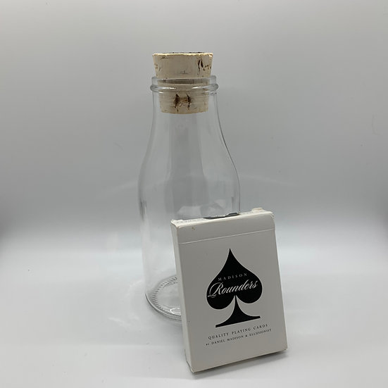 Impossible Bottle of Black Rounders Playing Cards with Cellophane