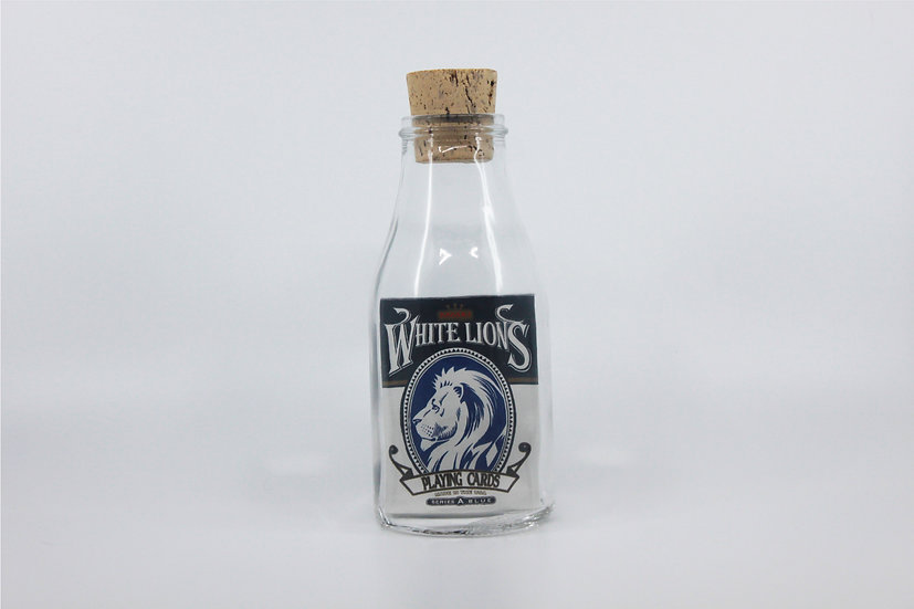 Impossible Bottle of White Lions Series A Blue Playing Cards with Cellophane