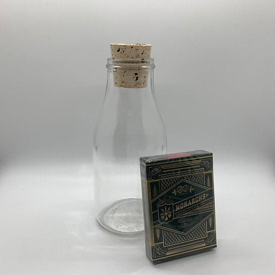 Impossible Bottle of Green Monarchs Playing Cards with Cellophane