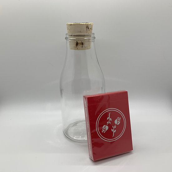 Impossible Bottle of Red Roses Playing Cards with Cellophane